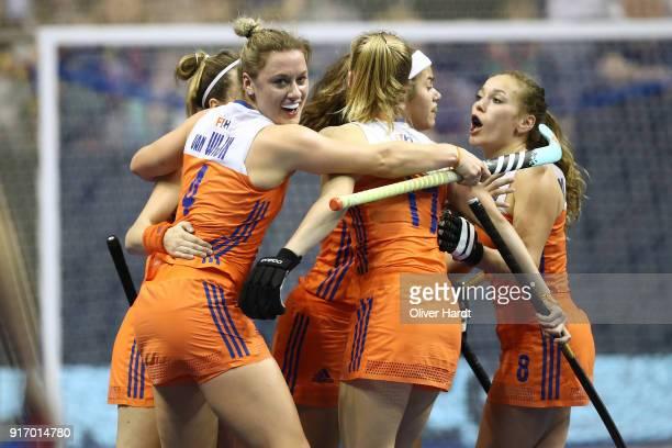 Lieke van Wijk of Netherlands celebrate after her first goal during the Women Gold Medal Indoor Hockey World Cup Berlin Final Day match between...