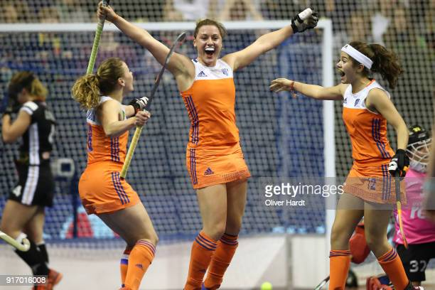 Lieke van Wijk of Netherlands celebrate after her first goal during the Women Gold Medal Indoor Hockey World Cup Berlin Final Day match between...
