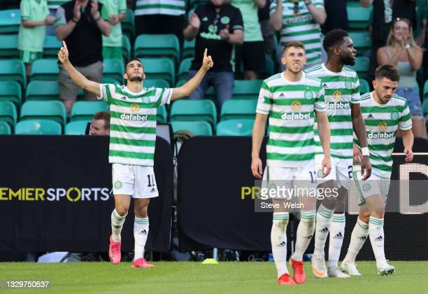 Liel Abada of Celtic celebrates scoring the first goal during the UEFA Champions League Second Qualifying Round First Leg between Celtic and FC...
