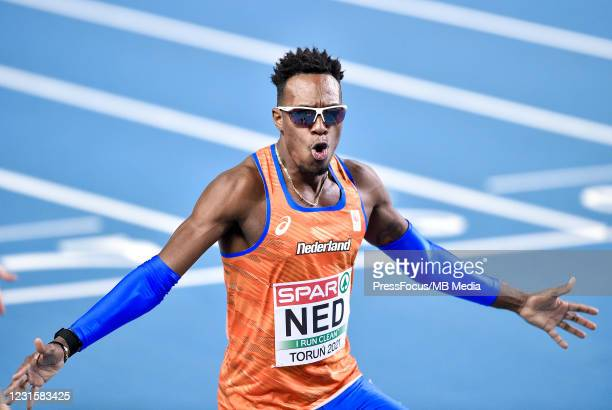Liemarvin Bonevacia of Netherlands celebrates during the second session on Day 3 of European Athletics Indoor Championships at Arena Torun on March...