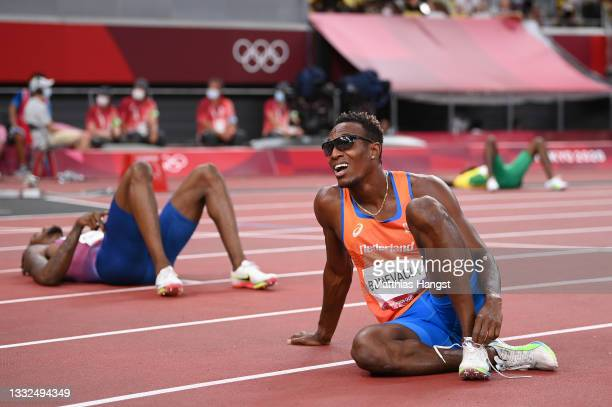 Liemarvin Bonevacia of Team Netherlands reacts after competing in the Men's 400m Final on day thirteen of the Tokyo 2020 Olympic Games at Olympic...