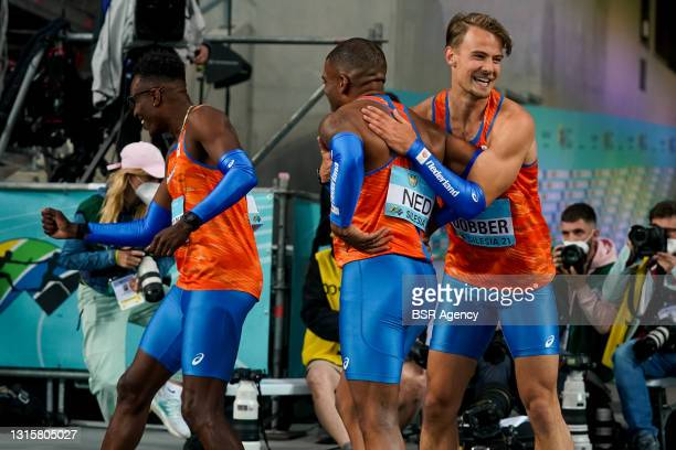 Liemarvin Bonevacia of The Netherlands, Ramsey Angela of The Netherlands and Jochem Dobber of The Netherlands during the World Athletics Relays...