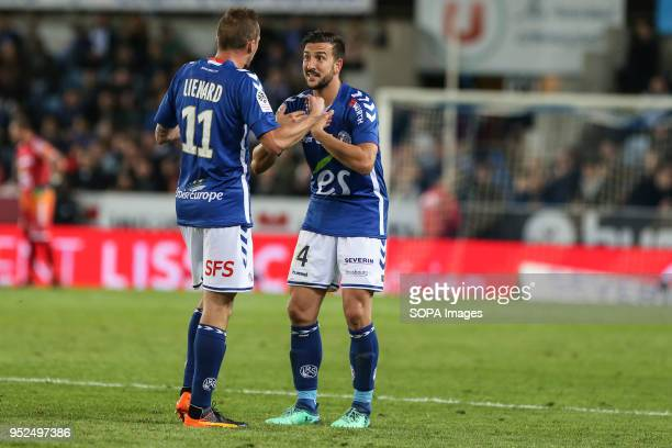 Lienard Dimitri and Pablo Martinez speak each other during the French L1 football match between Strasbourg and Nice at the Meinau stadium final score