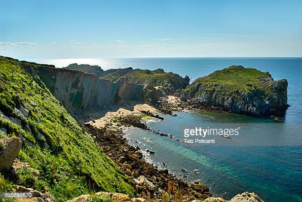 Liencres Cliffs and bay in Santander, Cantabria, Spain.