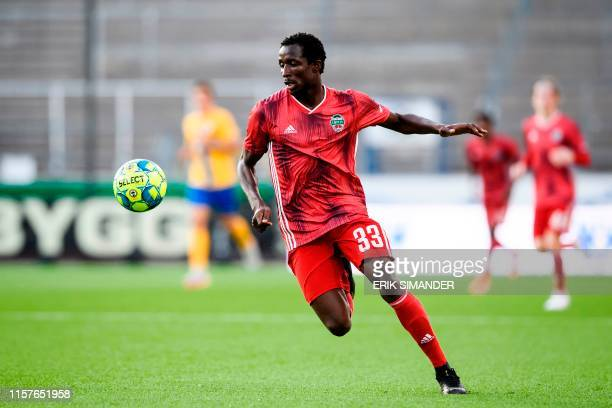Liepaja's Senegalese defender Seydina Keita controls the ball during the UEFA Europa League second qualifying round, first leg football match between...