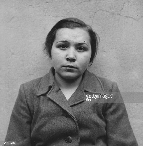 Liesbeth Fitzner, a guard at the Bergen-Belsen concentration camp, Germany, circa 1945. Charged with war crimes and crimes against humanity, Fitzner...