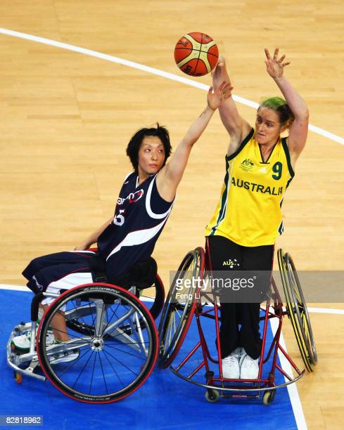 Liesl Tesch of Australia passes during the bronze medal Wheelchair Basketball match between Australia and Japan at the National Indoor Stadium during...