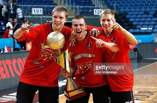 Lietuvos Rytas players celebrate at the end of the Nike International Junior Tournament Final game between Lietuvos Rytas v Fenerbahce Ulker at Sinan...