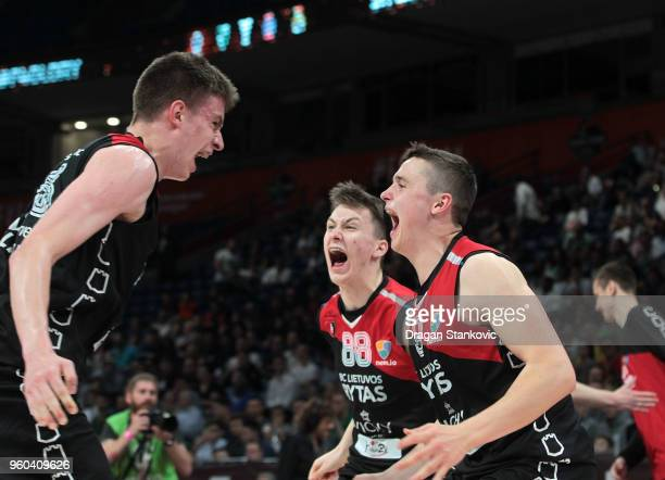 Lietuvos Rytas Vilnius celebrating at the end of the Adidas Next Generation Tournament Championship game between U18 Lietuvos Rytas Vilnius v U18...