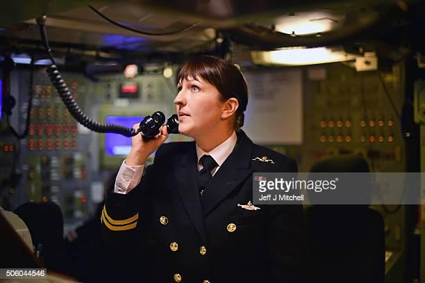 Lieutenant Alexandra Olsson in the control room on HMS Vigilant submarine on January 20 2016 in Rhu Scotland HMS Vigilant is one of the UK's fleet of...