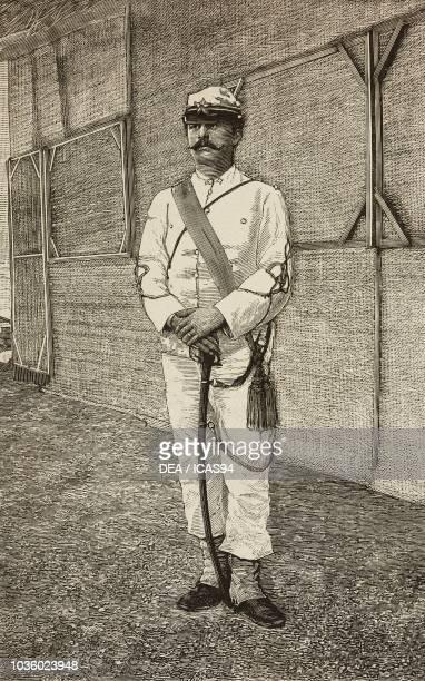 Lieutenant Angelo Ferretto Saluzzo Cavalry Regiment hero of Dogali Eritrean War engraving from L'Illustrazione Italiana No 12 March 20 1887