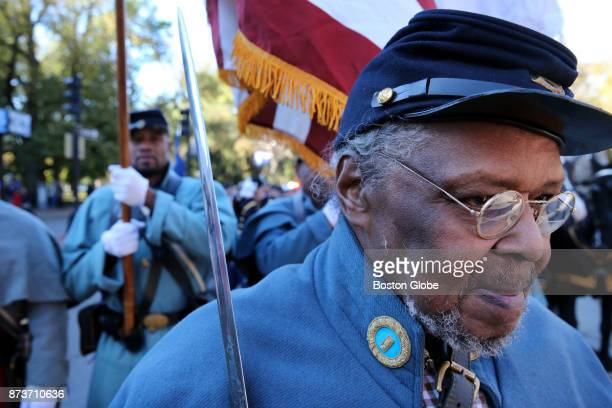 Lieutenant Benny White prepares to march with the 54th Massachusetts Volunteer Regiment during the Veterans Day Parade in Boston on Nov 11 2017