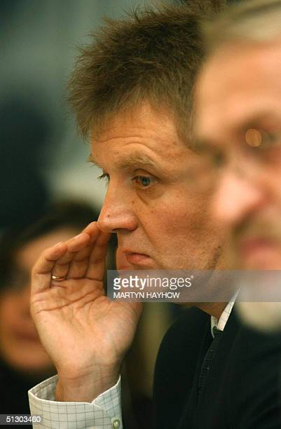 Lieutenant Colonel Alexander Litvinenko a former Russian intelligence agent and now a political refugee in Britain is pictured at a press conference...
