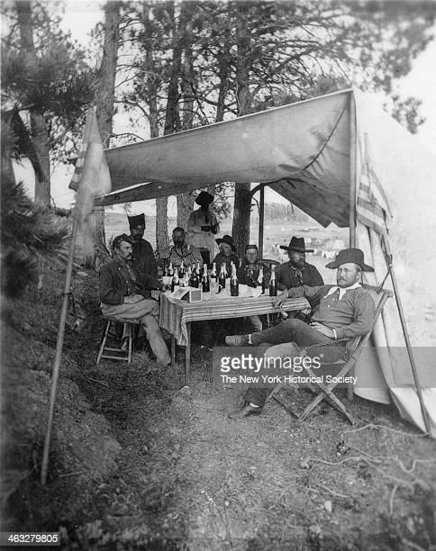Lieutenant Colonel Frederick D Grant 4th Cavalry and Acting Aide with other staff during Custer's Black Hills Expedition summer 1874