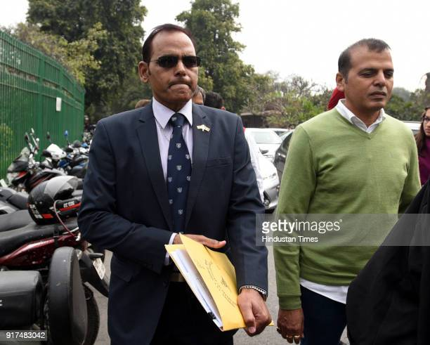 Lieutenant Colonel Karamveer Singh with father of Major Aditya Kumar leave Supreme court on February 12 2018 in New Delhi India Supreme Court...