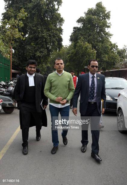 Lieutenant Colonel Karamveer Singh with father of Major Aditya Kumar and others leave Supreme court on February 12 2018 in New Delhi India Supreme...