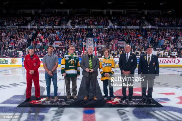 REGINA SK MAY 25 Lieutenant Colonel Michael French of the Canadian Armed Forces Regina Pats Alumni NY Islanders NHL player Jordan Eberle Lyle Brons...
