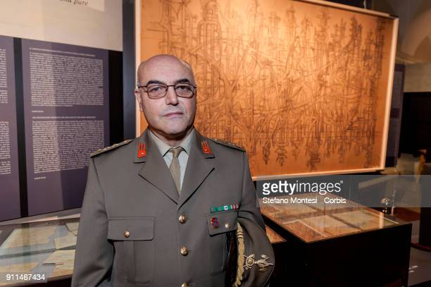 Lieutenant Colonel of the Italian Army Francesco Sardone Director of the Mausoleum of the Fosse Ardeatine poses in front of the sketch for the...