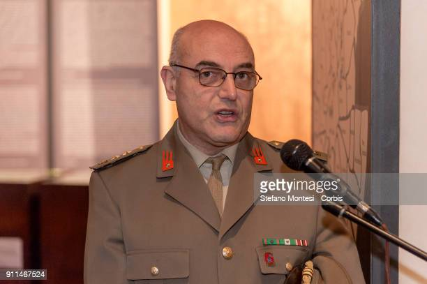 Lieutenant Colonel of the Italian Army Francesco Sardone Director of the Mausoleum of the Fosse Ardeatine speaks as the sketch for the internal gate...
