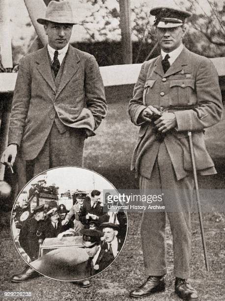 Lieutenant Colonel Sir Arthur Whitten Brown, 1886– 1948, left, and Captain Sir John William Alcock, 1892 – 1919, right. Navigator and pilot...