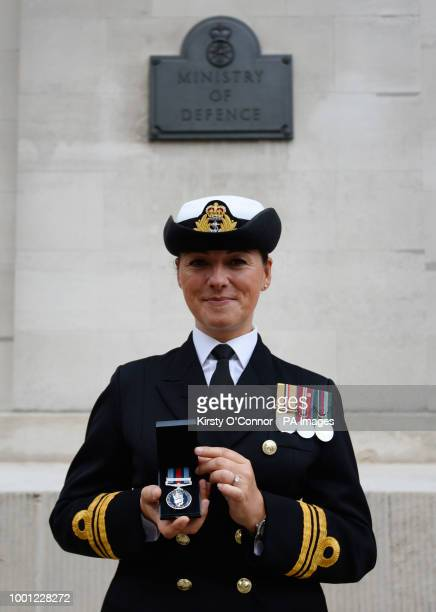 Lieutenant Commander Lindsey Waudby with her new Operation Shader medal outside the Ministry of Defence in London where the medals where presented to...