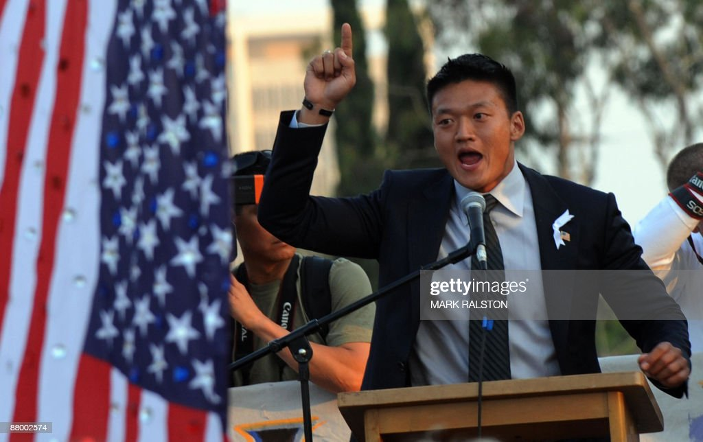 Lieutenant Dan Choi who has just been dismissed from the US Army for 'being openly gay', declares that he will try to protest his case during President Barack Obama's upcoming visit to Los Angeles, at a gay protest rally in Hollywood on May 26, 2009. California's Supreme Court upheld a referendum that outlawed gay marriage, but said 18,000 same-sex weddings carried out before the ban would remain valid. Gay and lesbian activists had sought to overturn the result of a November referendum, known as Proposition 8, which redefined marriage in California as being unions between men and women only. AFP PHOTO/Mark RALSTON