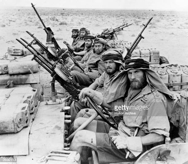 Men of the Long Range Desert Group returning from a 3month trip behind enemy lines during war in North Africa
