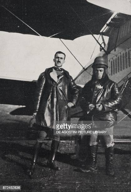 Lieutenant Francesco Brach Papa who broke the altitude world record on a SIA FIAT aeroplane with passenger along with his passenger Bonazzini Italy...
