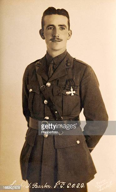 Lieutenant Frederick Barter of the Royal Welsh Fusiliers wearing his Victoria Cross which was awarded for his bravery during World War One circa 1915...