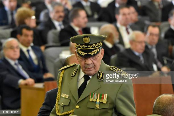 Lieutenant general Ahmed Gaid Salah Algerian armed forces chief attends the formal presidential swearingin ceremony in the capital Algiers on...