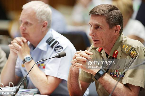 Lieutenant General Angus Campbell DSC AM takes questions from Senator Jacqui Lambie during the Foreign Affairs Defence and Trade Committee hearing on...
