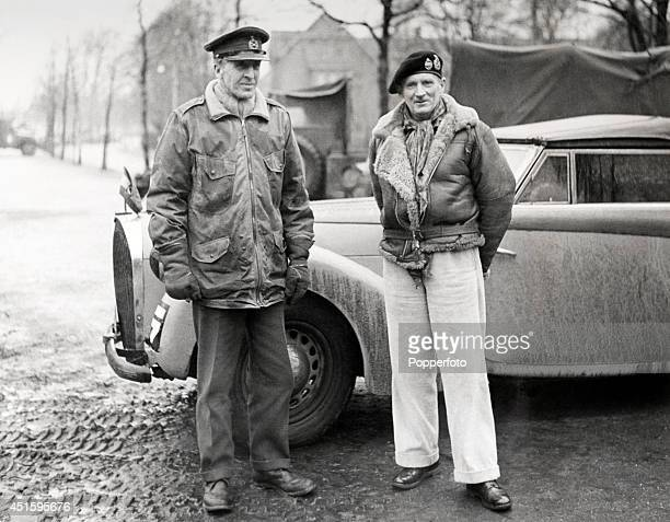 Lieutenant General Brian Horrocks the commander of the XXX Corps with Field Marshal Bernard Montgomery during World War Two circa December 1944