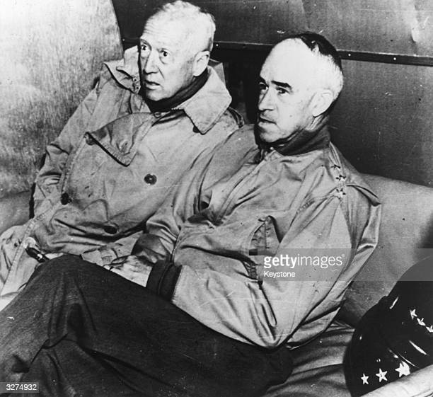 Lieutenant General George Smith Patton known as 'Old Blood & Guts', Commander of US 3rd Army with General Omar Bradley Commander of US Forces in...