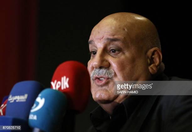 Lieutenant General Jabbar Yawar secretarygeneral of the Kurdistan Regional Government Ministry of Peshmerga Affairs speaks during a press conference...