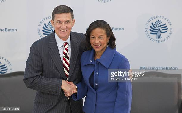 Lieutenant General Michael Flynn and National Security Advisor Designate and Ambassador Susan Rice National Security Advisor during a ceremonial...