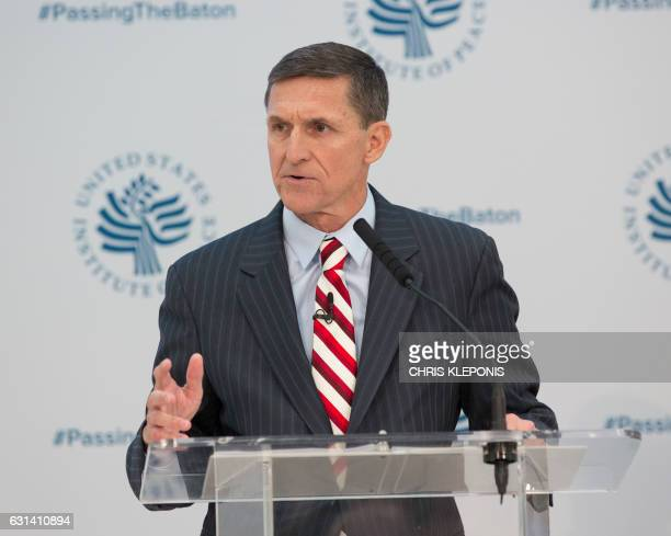 Lieutenant General Michael Flynn National Security Advisor Designate speaks during a conference on the transition of the US Presidency from Barack...