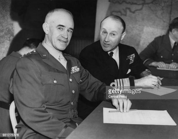 Lieutenant General Omar Bradley of the US Army with Sir Bertram Ramsay of the Royal Navy at the supreme headquarters of the Allied Expeditionary...