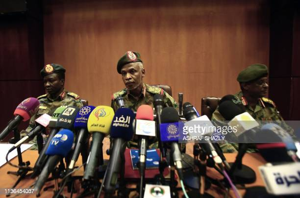 Lieutenant General Omar Zain alAbdin the head of the new Sudanese military council's political committee addresses a press conference on April 12...