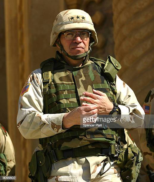 Lieutenant General Ricardo Sanchez commander of the USled coalition ground troops in Iraq attends a ceremony marking the US Army's 4th Infantry...