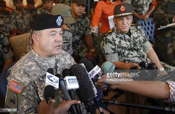 Lieutenant General Steven Whitcomb US third Army Commanding General speaks to the press as Egyptian Chief of Military Staff Lieutenant General Sami...