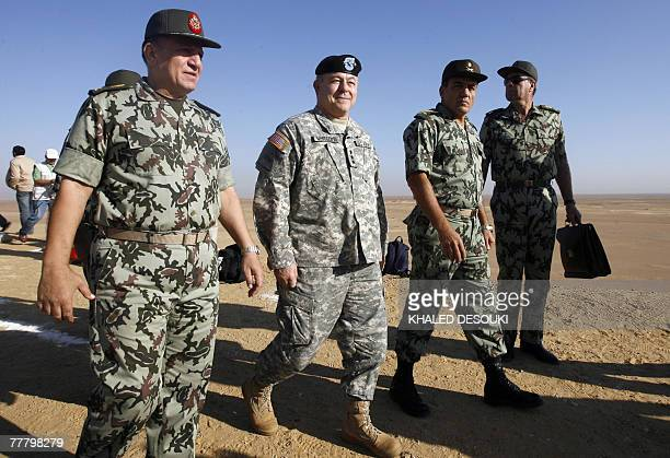 Lieutenant General Steven Whitcomb US third Army Commanding General leaves with Egyptian Chief of Military Staff Lieutenant General Sami Enan after a...