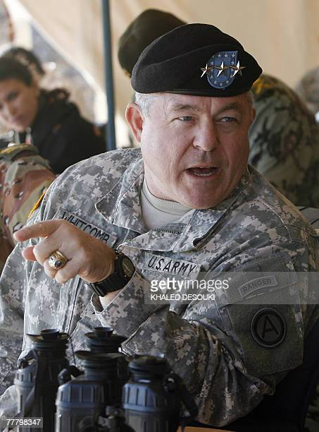 Lieutenant General Steven Whitcomb US third Army Commanding General speaks with Egyptian Chief of Military Staff Lieutenant General Sami Enan after a...