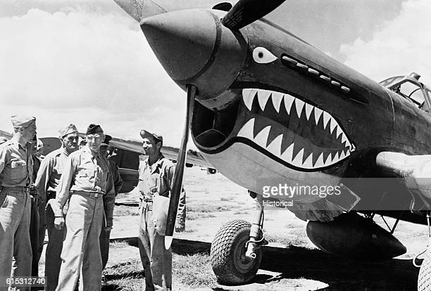 Lieutenant General Stillwell inspects the Flying Tigers, who are under his command. The Flying Tigers flew in China with the Nationalist forces of...