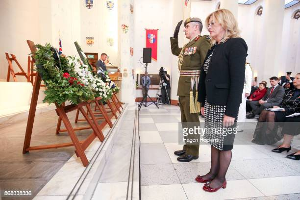 Lieutenant General Tim Keating and wife Brenda lay a wreath during Battle of Beersheba commemorations in the Hall of Memories at the National War...