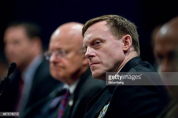 Lieutenant General Vincent Stewart director of the Defense Intelligence Agency from right Admiral Michael Rogers director of the National Security...
