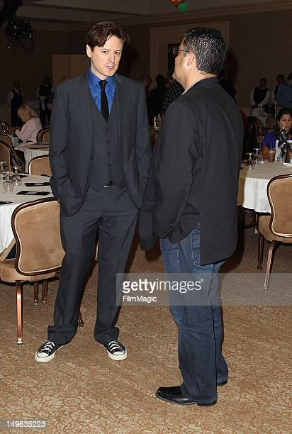 Lieutenant Governor of California Gavin Newsom and TV Host Cenk Uygur speak during the Current TV TCA Breakfast at The Beverly Hilton Hotel on August...