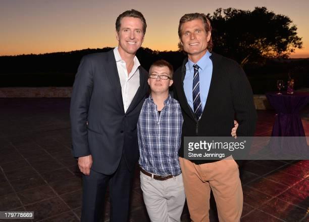 Lieutenant Governor of California Gavin Newsom Champ Pederson and Anthony Shriver attend Best Buddies Challenge Hearst Castle Kickoff Reception...