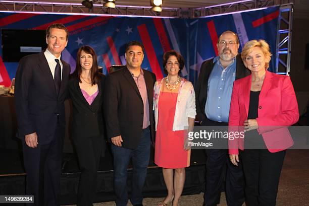 Lieutenant Governor of California Gavin Newsom TV Host Stephanie Miller TV Host Cenk Uygur guest President of Current TV David Bohrman and Host and...