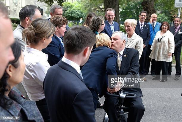 Lieutenant Governor of Ontario David Onley speaks to the media on his last day as LG from Queens Park A ceremony was held earlier in the day for he...