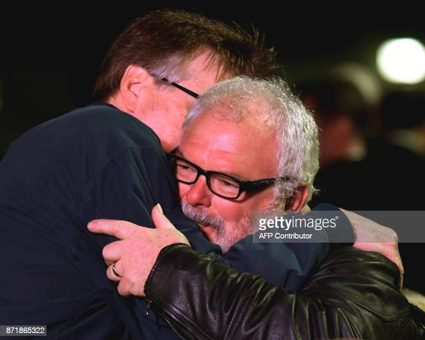 Lieutenant Governor of Texas Dan Goeb Patrick hugs Stephen Willeford during a 'Prayer Vigil Honoring Victims of the First Baptist Church Shooting' at...